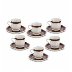 Karaca Hanzade Kahverengi 6 Kişilik Kahve Fincan Takımı